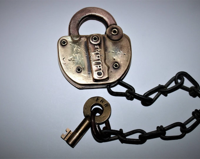 Vintage Solid Brass Adlake Padlock from the Penn Railroad Company, Switch Station Lock, Railroad Lock