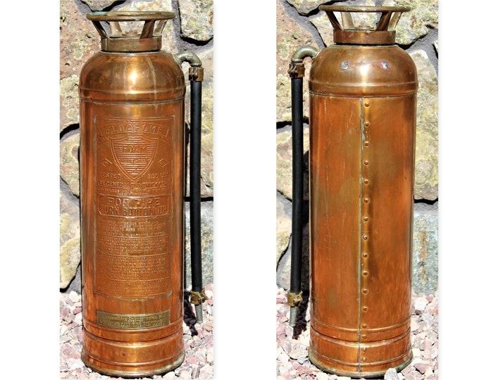 Vintage FLOAFOAM Copper Fire Extinguisher,  Firefighting Memorabilia, Fire Memorabilia