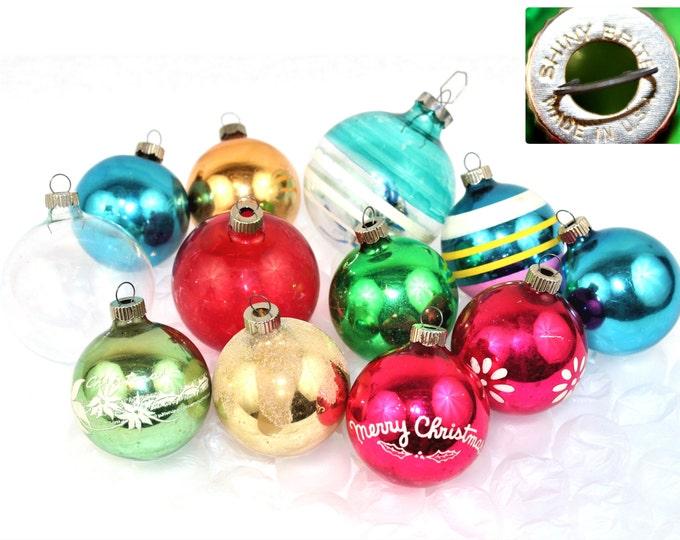 Twelve Authentic Glass Shiny Brite Ornaments,  Christmas Ornaments