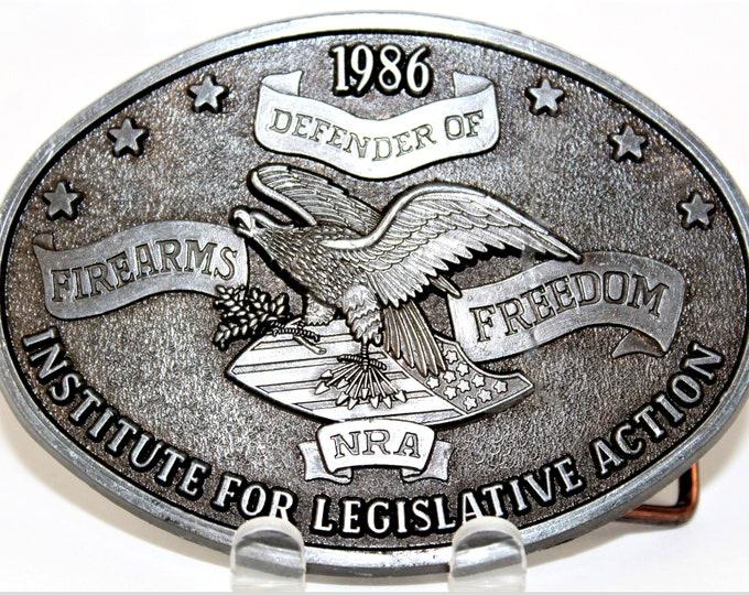 Vintage 1986 NRA Belt Buckle, Retro Belt Buckle