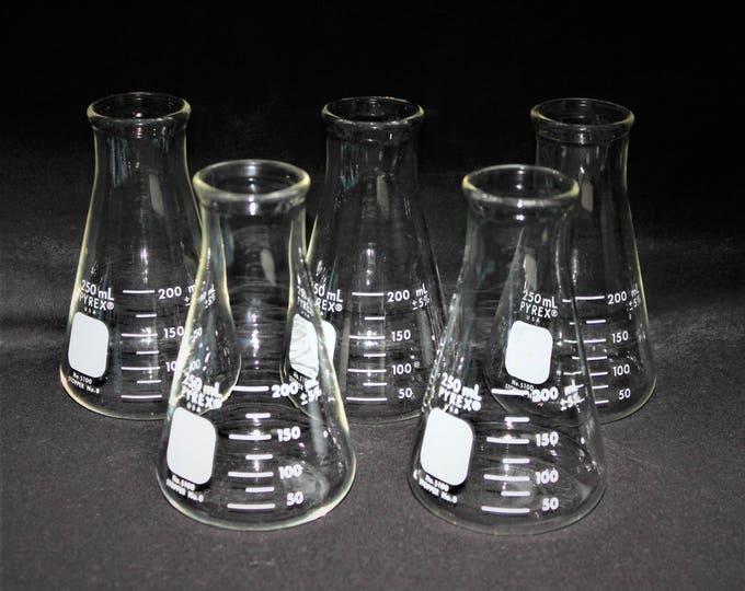 Vintage 250mL Pyrex Erlenmeyer Flasks, Pyrex #5100-250