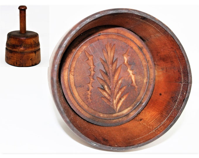 Primitive Wooden Butter Press Mold with Rosemary & Dill Leaf Pattern Design