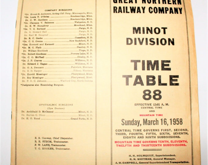 1958, Great Northern Railroad, Time Table, Minot Division, Railroadiana