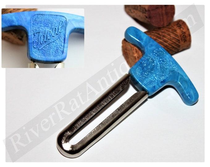 Vintage 1949 German Blue Handled IDEAL Prong Cork Puller, Wine Opener