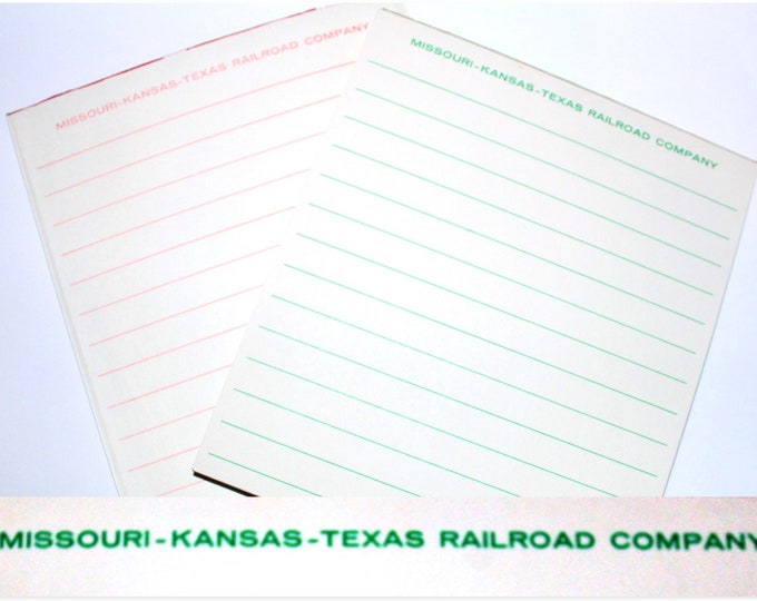 Vintage Advertisement Notepads Missouri, Kansas & Texas Railroad Co, Railroad Memorabilia, Stationary Notepad