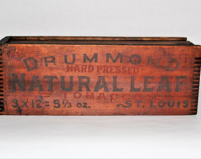 Vintage 1930s Drummond Natural Leaf Tobacco Wood Box