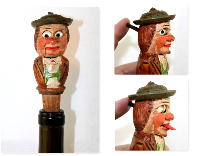 Anri Bottle Stopper, Mans Eyes Roll and Tongue Sticks Out, Wine Bottle Stopper