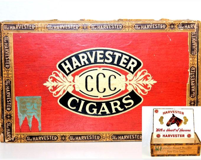 1920s Wooden Cigar Box, Harvester CCC Cigars, Tobacciana