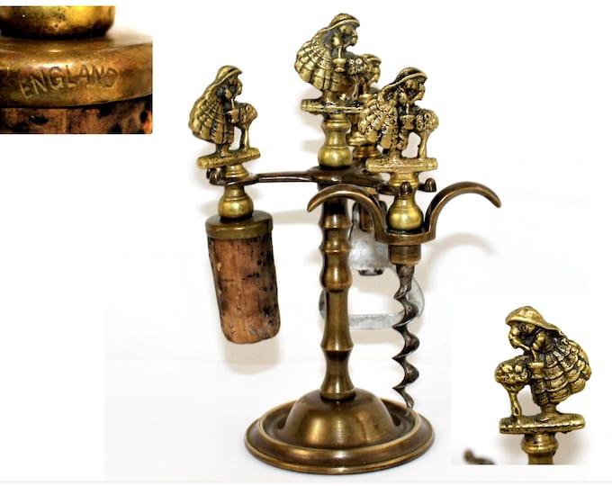 1940s English Brass Barware Set, Corkscrew, Bottle Opener, Bottle Stopper