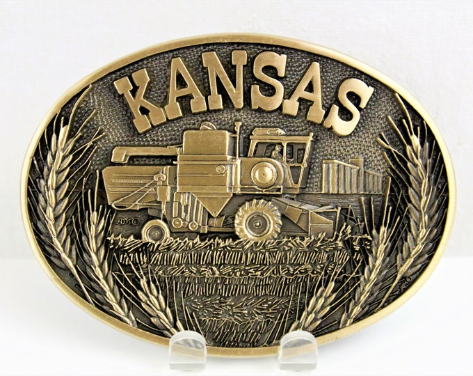 Vintage Kansas Belt Buckle, Retro Belt Buckle