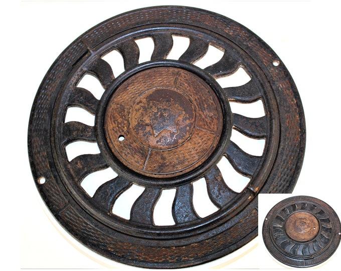Antique Victorian Heat Grate, Round with Hexagram Star