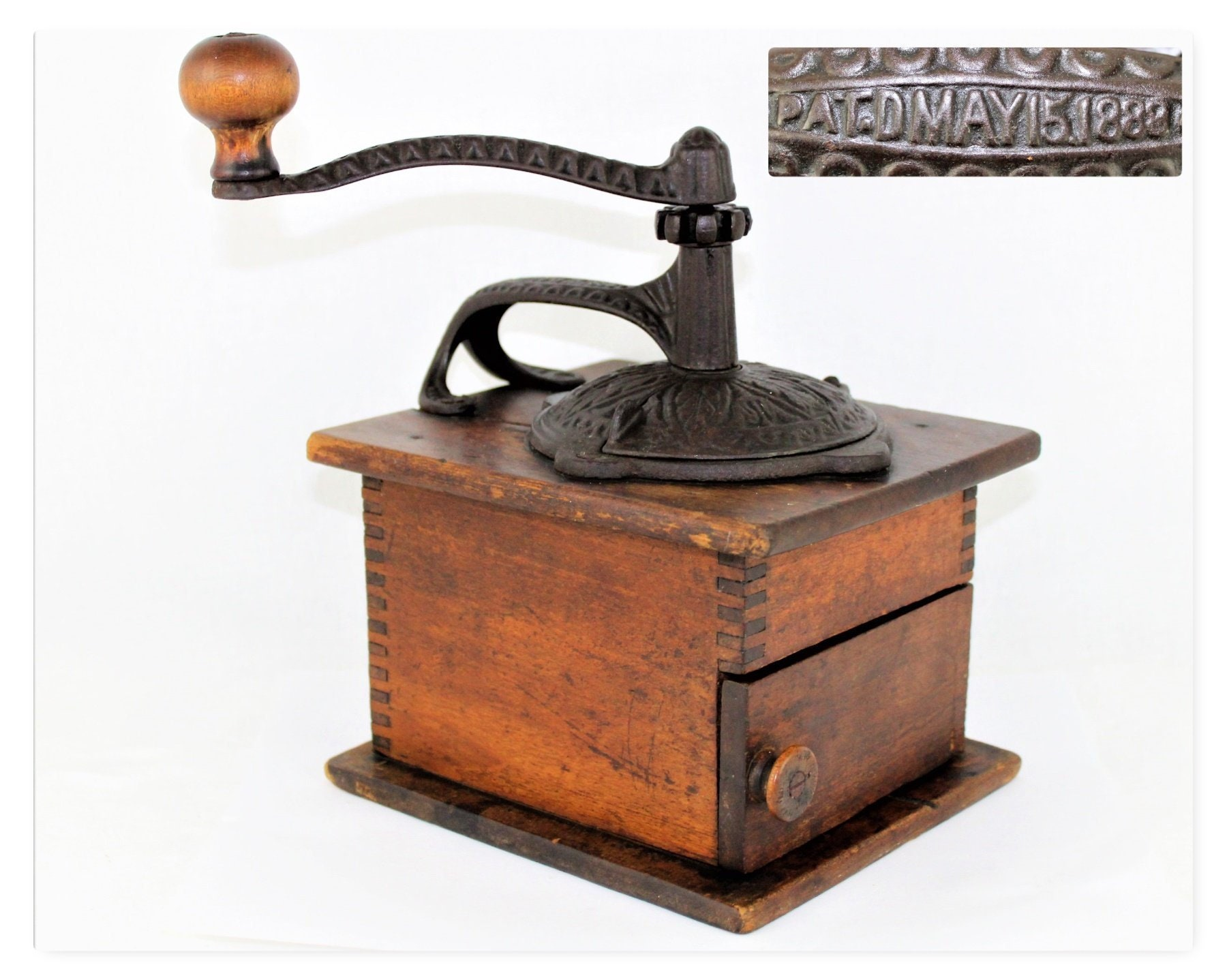 Antique Kitchen Decor 1888 Coffee Bean Grinder Primitive