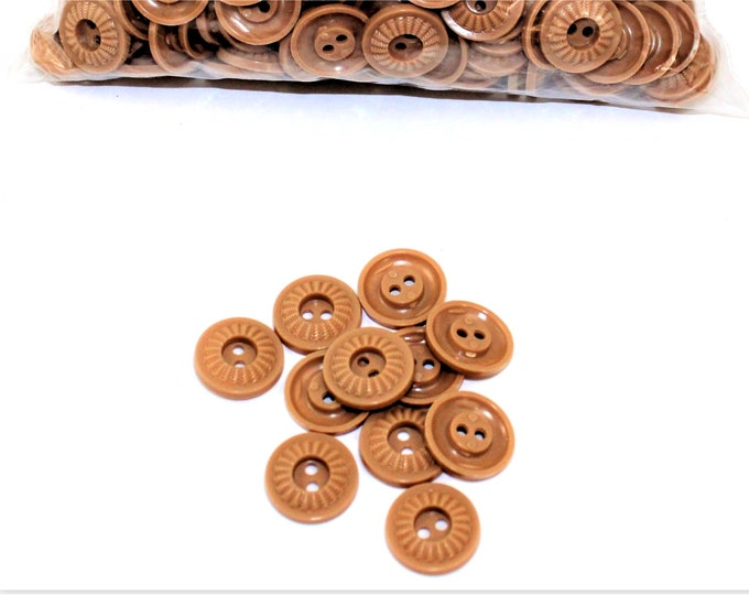 """Vintage matching 3/4"""" Tan Buttons, Retro Buttons, Housedress Buttons"""