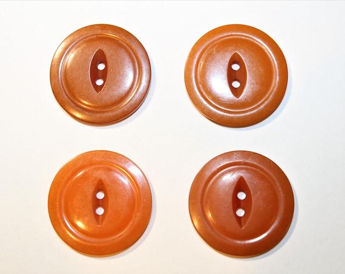 Bakelite Burnt Orange Buttons, Cat Eye Center, Housedress Buttons