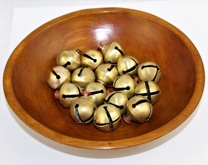 Antique Sleigh Bells, 16 Brass Sleigh Bells with Wooden Bowl, Christmas Bells