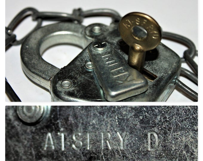 Vintage Keline Padlock and Matching Key for the ATSFRY D Railroad Switch Yard, Atchison-Topeka & Santa Fe Railroad Yard