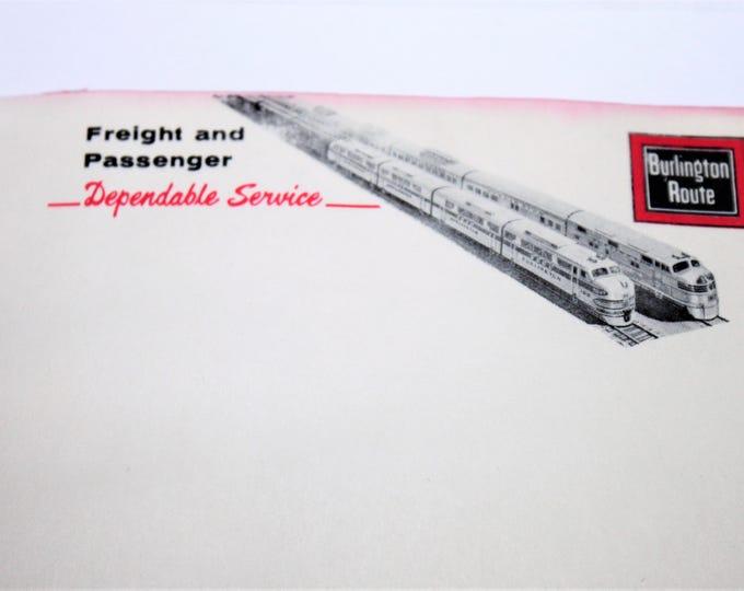 Vintage Burlington Route Railroad Lines Notebook / Notepad