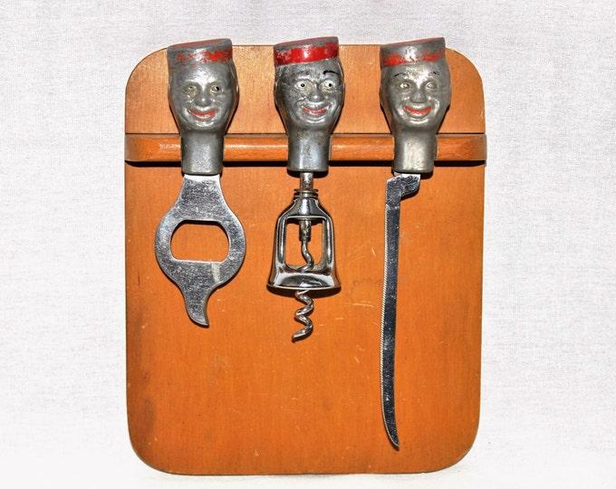 Vintage Barware / Mid Century Bellboy Barware Set with Cutting Board / Collectible Wine Bottle Opener / Corkscrew