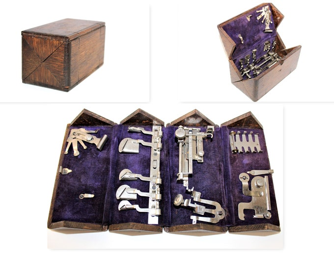 Singer Puzzle Box with Treadle Sewing Machine Attachments