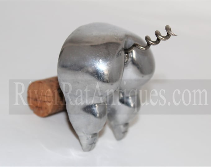 1950s Colonial Crafts Polished Aluminum Pig Bottom Corkscrew and Bottle Opener