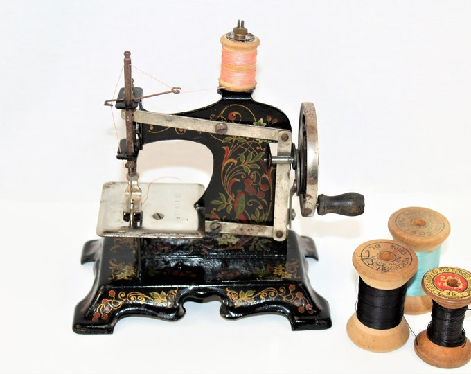 Antique Toy Sewing Machine, Muller Model 2, Hand Crank Sewing Machine