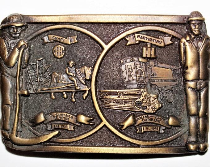 Vintage 1981 Grain Harvesting Belt Buckle, American Farmer Tribute Belt Buckle