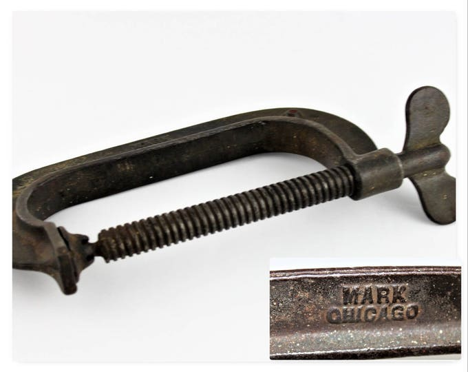 "Antique Industrial Clamp, 6"" MARK Chicago C-Clamp"