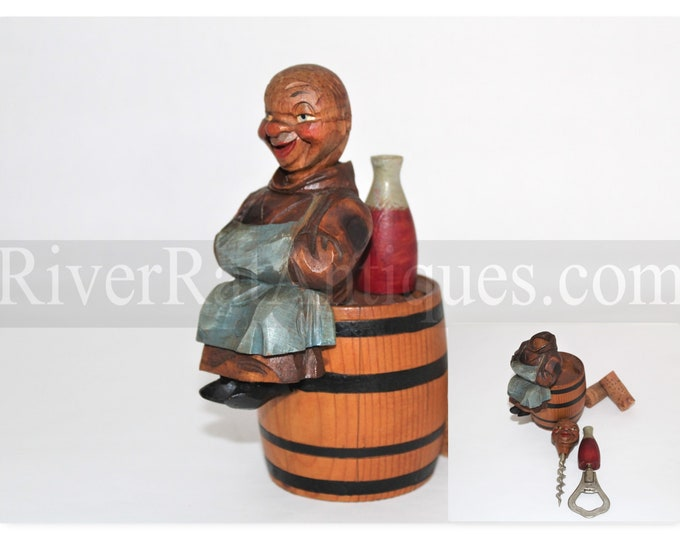 Vintage 1950s ANRI Hand Carved Barware Set, The Happy Monk with Hidden Corkscrew and Bottle Opener