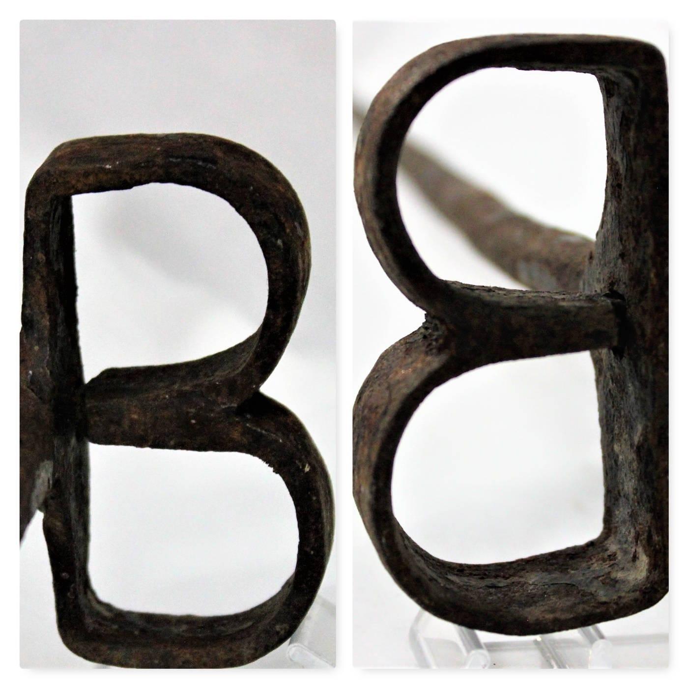 Antique Hand Forged Branding Iron B Brand Branding Iron