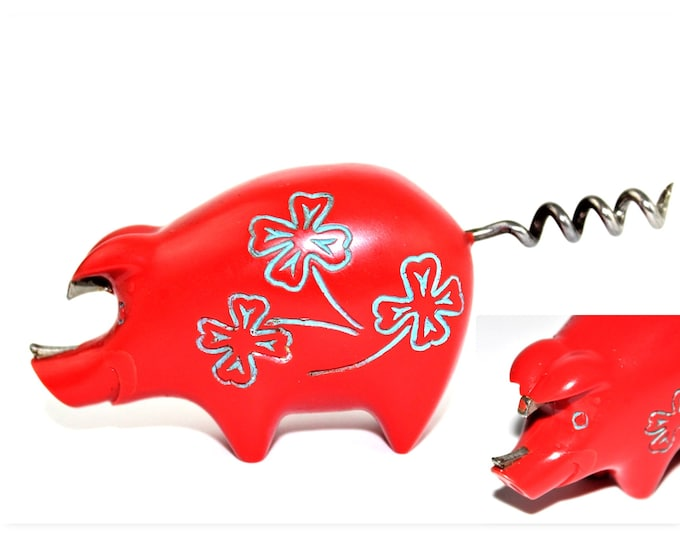 Vintage 1949 Howard Ross Patented RED Pig Corkscrew