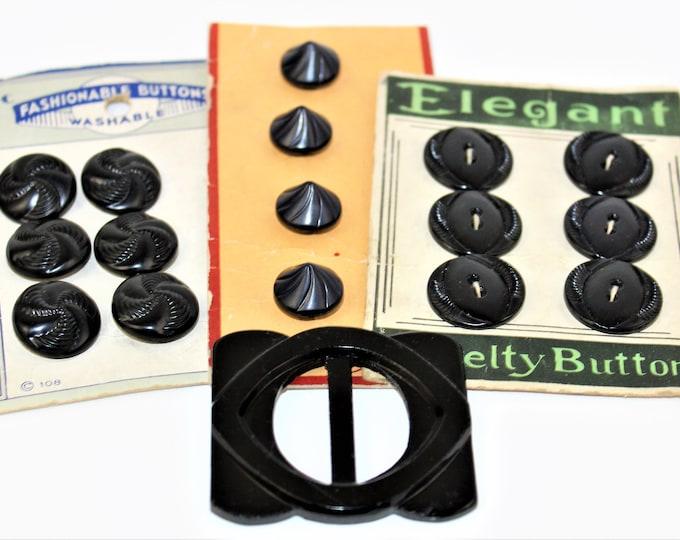 Vintage Lot of Black, Dark Charcoal Buttons on Original Cards and a Belt or Scarf Slide