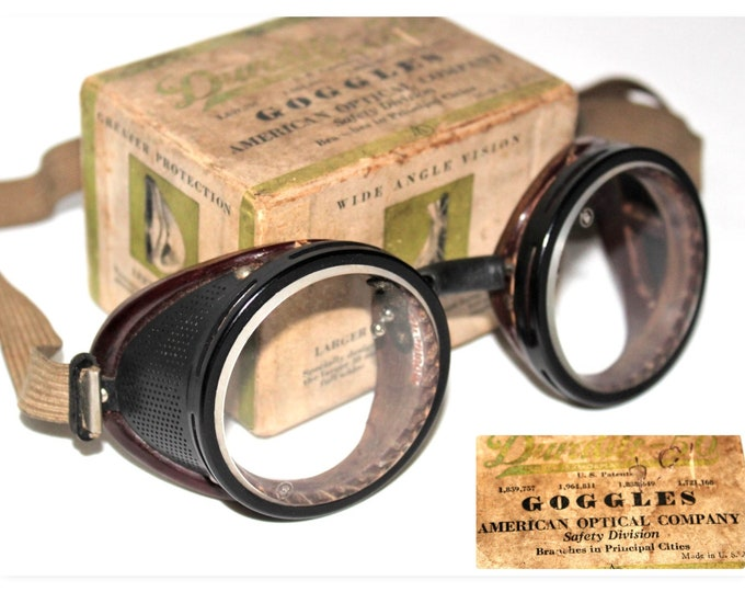 Vintage Pair of American Optical Duralite-50 Safety Goggles