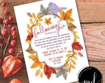 Rodan and Fields Invitation, Digital Invitation, Custom Invitation, Business Launch, Fall Into Great Skincare, Autumn