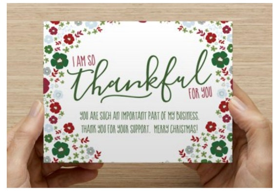 Christmas Thank You Cards.Business Christmas Thank You Card Printable Instant Download Thankful Holiday Floral Handwritten Rodan And Fields Christmas