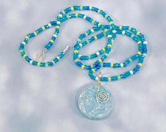 "Light Blue Ceramic Pendant on ""Summer Sky"" Seed Bead Necklace"