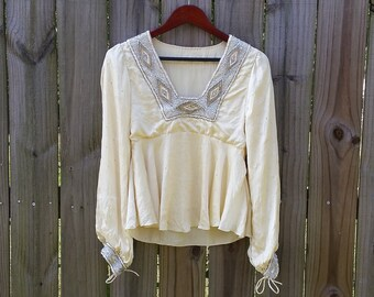 XS S Extra Small Vintage Cream Beaded Empire Waist Made In India Sparkly Hippie Indie Hipster Romantic Silk Long Sleeve Shirt Blouse Top