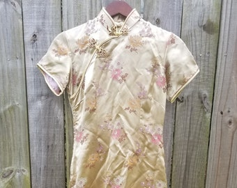 M Medium Vintage 90s yellow hold Metallic Brocade Floral Print Asian motif frog knot sexy alternative Indie Hipster Ethnic cheongsam Dress