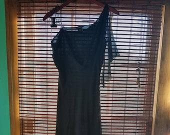 M L Medium Large Vintage 90s Banana Repiblic Black Minimalist Grunge Revival Gothic 1990s Indie Hipster Alternative Long Prom Party Dress