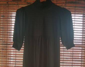 S Small M Medium Vintage 90s Black Short Sleeve Gothic  Hipster Alternative Indie Festival Empire Waist Grunge Short Babydoll Dress alt girl