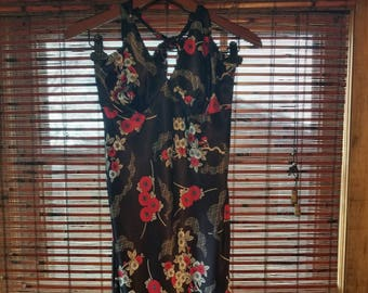 S small Vintage 90s Rampage Grunge Dress Blue floral Sundress sexy halter top Summer backless Tank Dress nwt