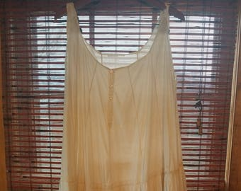 20s 30s L XL Extra Large Vintage Antique White Ribbon Cotton Nightdress Lingerie Summer Boho Indie Hippie Festival Tent Sundress Dress issue