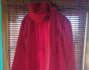 S/M/L/XL Vintage Handmade Red Riding Hood Satin Lined Poncho Cape Jacket Cosplay Hooded Hoodie Preppy Fall Autumn Warm Winter Costume