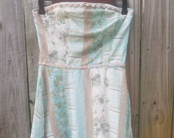 Vintage 90s S Small Floral Stripes Patchwork Print Romantic Sundress Garden Tea Party Strapless fit and flare Skirt Pastel Dress