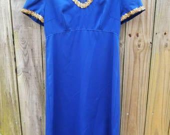 S Small M Medium Vintage 60s Blue Short Sleeve Mod Modette Classic Party Empire Waist Dress Sparkle trim Alternative Grunge