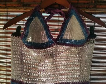 S M Small Medium Vintage 90s Billabong Crochet Crop Top Fringe Alternative Hippie Festival Hipster Grunge Rave  Shirt Top