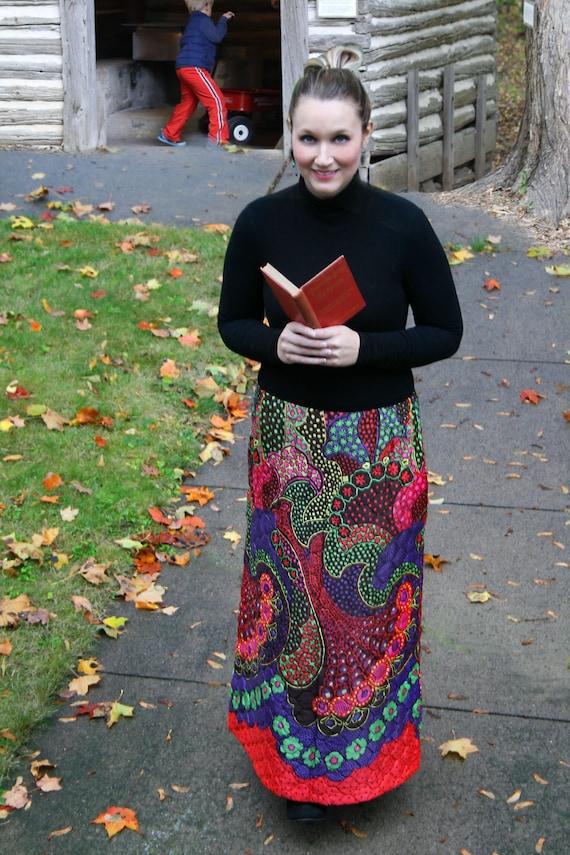 Vintage Quilted Skirt, Vintage Maxi Skirt, Boho Sk