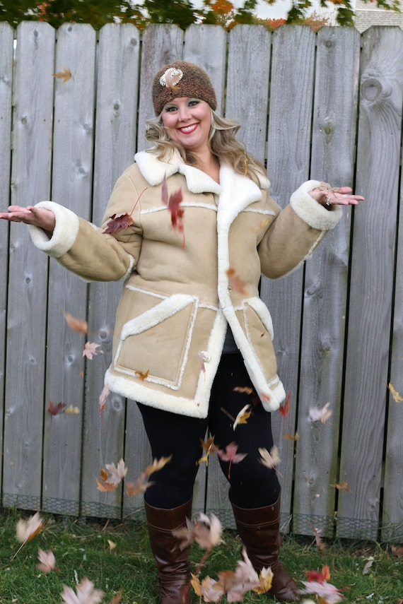 Vintage Shearling Sheepskin Coat, Vintage Womens T