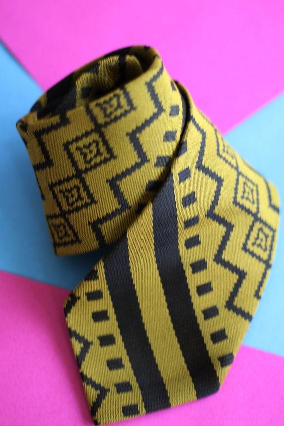 Vintage Funky Necktie, Vintage Gold Necktie, Vinta