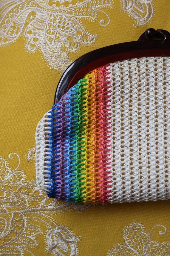 Vintage Rainbow Striped Straw Purse, Vintage Strip