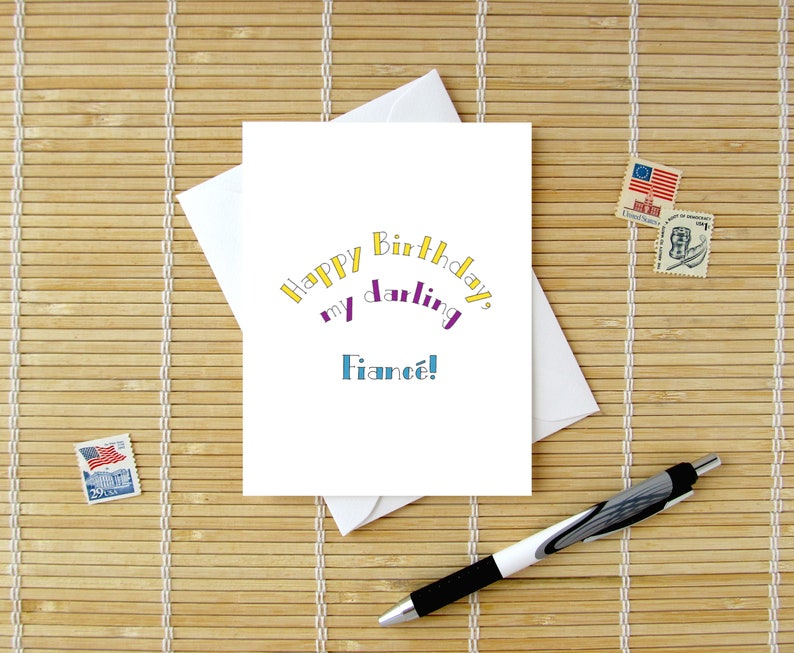 Sweet Simple Modern Birthday Card Choos Happy My Darling Fiance Choose Option For Him Or Her